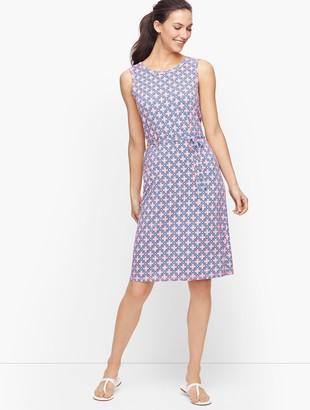 Talbots Geo Print Belted Wrap Back Dress