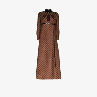 Gucci Womens Brown Patent Choker Pleated Dress