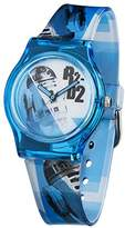 Star Wars Boy's Quartz Analogue Display Watch with White Dial and Blue Plastic Strap STAR349