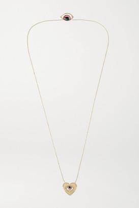 Lito Racil 14-karat Gold, Enamel And Diamond Necklace