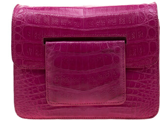 Nancy Gonzalez Dark Pink Crocodile Crossbody Bag