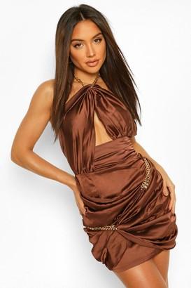 boohoo Chain Wrap Halter Neck Mini Dress