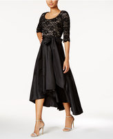 R & M Richards Petite Sequined Lace High-Low Dress