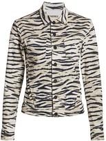 L'Agence Celine Zebra Print Denim Jacket
