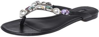 Dolce & Gabbana Black Leather Crystal Embellished Thong Flat Sandals Size 38
