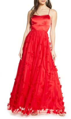 Sequin Hearts 3D Floral Lace-Up Gown