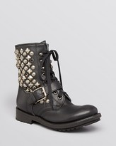 Lace Up Moto Boots - Ryanna Studded