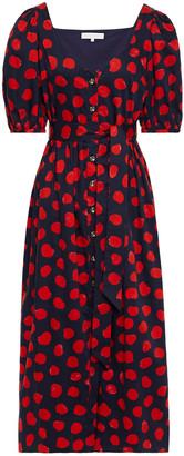 Borgo de Nor Marian Gathered Polka-dot Cotton-poplin Midi Dress
