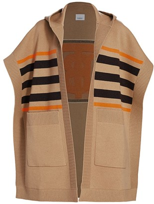 Burberry Carla TB Monogram Wool & Cashmere-Blend Striped Cape Cardigan