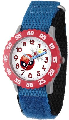 Marvel Emoji Kids' Spider-Man Stainless Steel Time Teacher Watch, Red Bezel, Blue Hook and Loop Nylon Strap with Black Backing