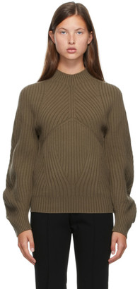 Low Classic Brown Whole Garment Raglan Turtleneck