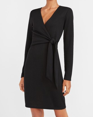 Express Side Tie Long Sleeve Sheath Dress
