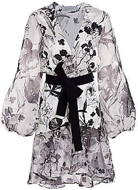 Silvia Tcherassi Women's Galena Stretch-Silk Floral Ruffle-Hem Dress