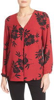 Vince Camuto Print Long Sleeve V-Neck Blouse