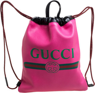 Gucci Pink/Black Grained Leather Logo Drawstring Backpack