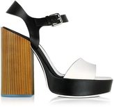 Jil Sander Black & White Leather Platform Sandal