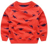 Anbaby Little Boys Children's Double-deck Cartoon Dinosaur Pullover Sweaters 130cm