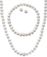 Macy's Sterling Silver Jewelry Set, Cultured Freshwater Pearl (7-7-1/2mm) and Crystal (8mm) Necklace, Bracelet and Earrings Set