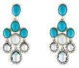 David Yurman Turquoise, Milky Quartz & Topaz Chandelier Earrings