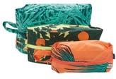 Baggu 3D Set Of 3 Nylon Zip Pouches - Blue