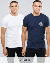 Asos 2 Pack Muscle T-Shirt In Mixed Print/Plain