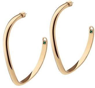 DEMARSON Calypso 12K Goldplated & Swarovski Crystal Curved Hoop Earrings