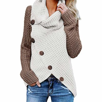 YJNH Womens Chunky Knit Color Matching Comfortable Sweater Turtleneck Asymmetric Hem Pullover Button Decoration Spring Autumn and Winter Casual Streetwear Outdoor Travelling Walking top S