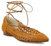 Michael Kors Kallie Woven Leather Lace-Up Flats
