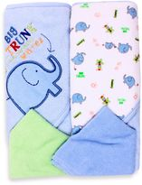 SpaSilk Baby Elephant 4-Piece Terry Hooded Towel and Washcloth Set in Blue
