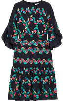 Peter Pilotto Ruffled Fil Coupé Silk-blend Dress - Navy