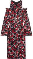 Mother of Pearl Carmela Cold-shoulder Floral-print Crepe Midi Dress - Red