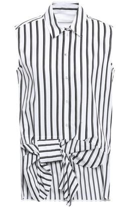 Victoria Victoria Beckham Bow-embellished Striped Cotton Shirt