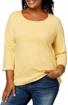 Karen Scott Plus Three-Quarter-Length Scoop Neck Top
