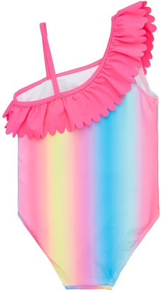 Very Girls Ombre One Shoulder Frill Swimsuit - Multi