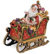 Fitz & Floyd Hand Painted Santa Musical Sleigh