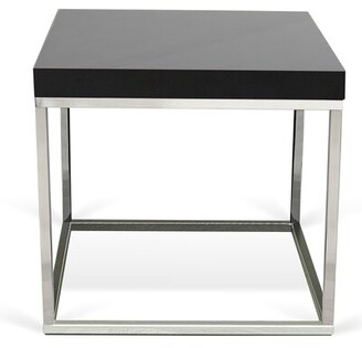 Ivy Bronx Union Point End Table Color: Black Lacquered / Chrome