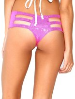 iHeartRaves Hologram Micro Cut-Out Rave Booty Shorts (Small/Medium, )