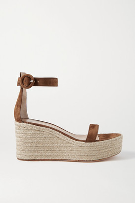 Gianvito Rossi Portofino 85 Suede Espadrille Wedge Sandals - Brown