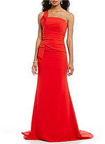 Terani Couture One Shoulder Sleeveless Crepe Gown