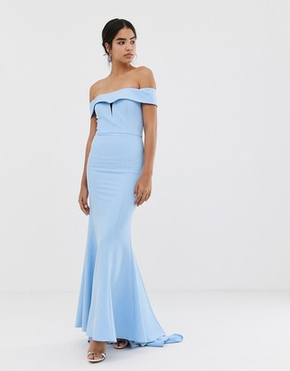 Jarlo bardot maxi dress with fishtail train in blue