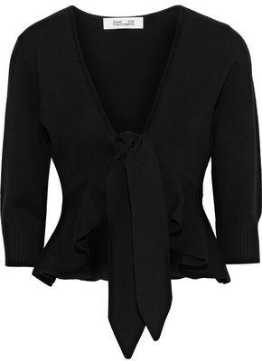 Diane von Furstenberg Tie-front Ruffled Wool-blend Cardigan