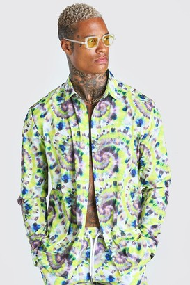 boohoo Mens Multi Long Sleeve Collared Relaxed Fit Tie Dye Shirt, Multi