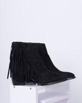Missy Empire Yazz Black Suede Tassel Ankle Boot