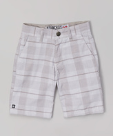 Micros White Plaid Shorts - Boys