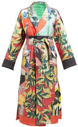 Etro Floral Print Quilted Silk Twill Kimono Style Coat - Womens - Blue Multi