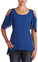 Peter Nygard Short Butterfly Sleeve Cold Shoulder Tunic
