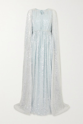 Erdem Kenley Cape-effect Sequined Tulle Gown - Light blue