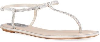 Rene Caovilla Crystal Bow Flat Sandals