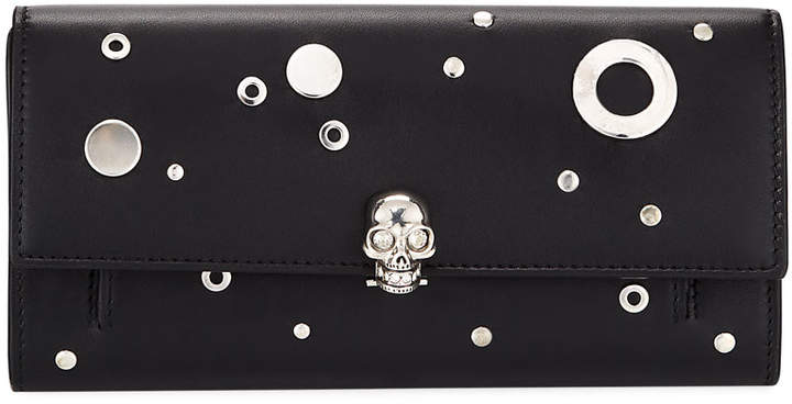 Alexander McQueen Studded Leather Wallet On a Chain, Black