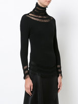Issey Miyake fitted lace embroidered top